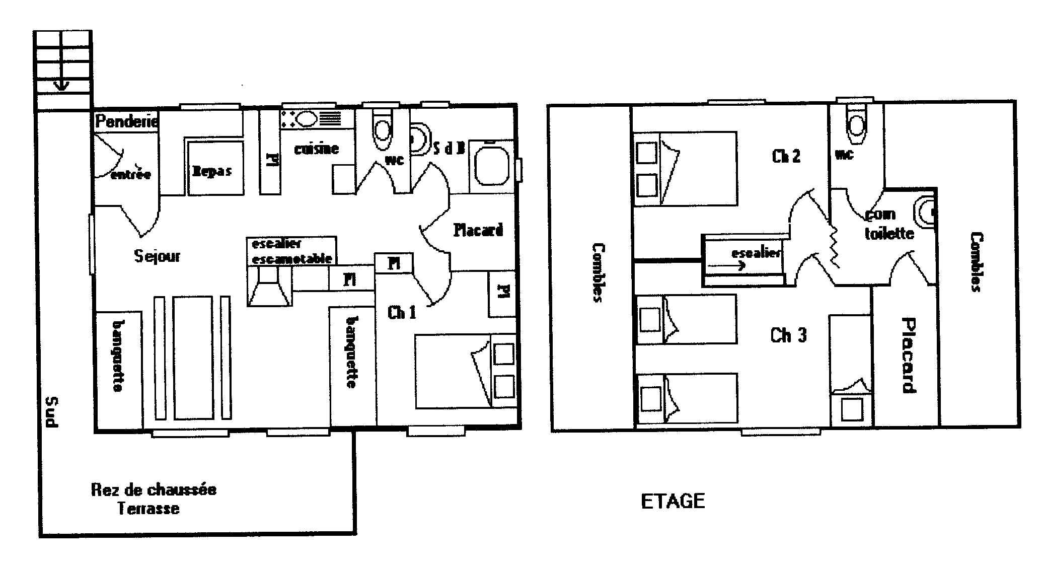 Maison chalet le revard bauges chalet 6 7 pers 80m2 for Plan maison 80m2